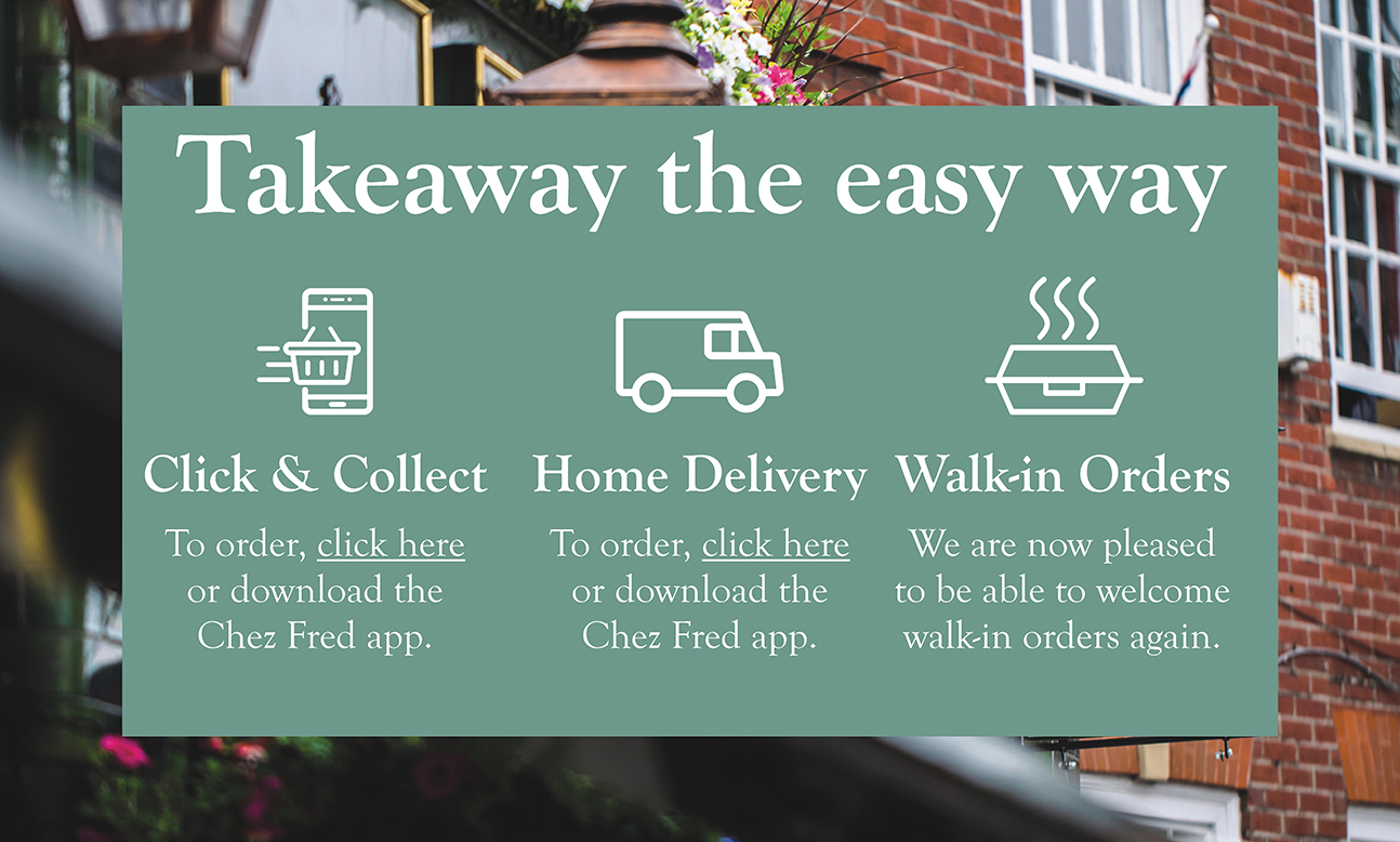 Takeaway the easy way. Click & Collect, Home Delivery, and Walk in Orders. Visit https://menus.preoday.com/Chez-Fred